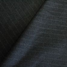 75% OFF Grey Fine Pin Stripe Wool Suiting Fabric